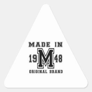 MADE IN 1948 ORIGINAL BRAND BIRTHDAY DESIGNS TRIANGLE STICKER