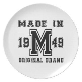MADE IN 1949 ORIGINAL BRAND BIRTHDAY DESIGNS PLATE