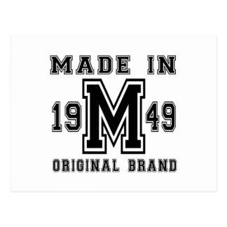 MADE IN 1949 ORIGINAL BRAND BIRTHDAY DESIGNS POSTCARD
