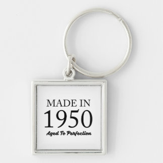 Made In 1950 Silver-Colored Square Key Ring