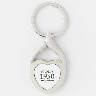 Made In 1950 Silver-Colored Twisted Heart Key Ring