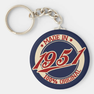 Made In 1951 Basic Round Button Key Ring