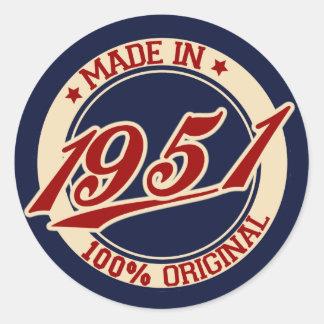 Made In 1951 Round Sticker