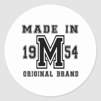 MADE IN 1954 ORIGINAL BRAND BIRTHDAY DESIGNS CLASSIC ROUND STICKER