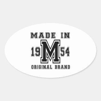MADE IN 1954 ORIGINAL BRAND BIRTHDAY DESIGNS OVAL STICKER