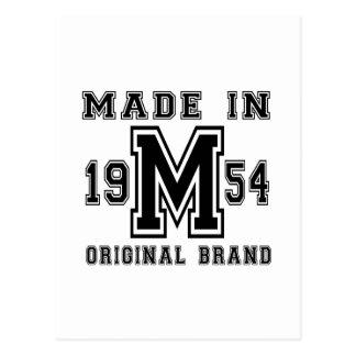 MADE IN 1954 ORIGINAL BRAND BIRTHDAY DESIGNS POSTCARD