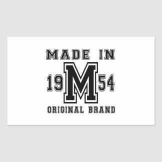 MADE IN 1954 ORIGINAL BRAND BIRTHDAY DESIGNS RECTANGULAR STICKER