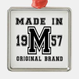 MADE IN 1957 ORIGINAL BRAND BIRTHDAY DESIGNS METAL ORNAMENT