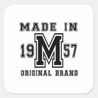 MADE IN 1957 ORIGINAL BRAND BIRTHDAY DESIGNS SQUARE STICKER