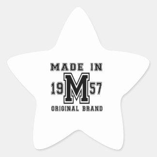 MADE IN 1957 ORIGINAL BRAND BIRTHDAY DESIGNS STAR STICKER