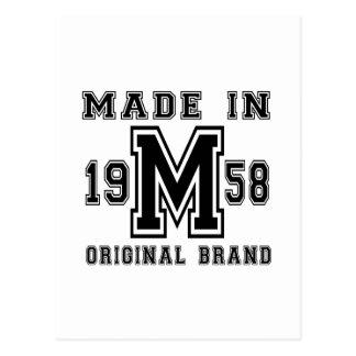 MADE IN 1958 ORIGINAL BRAND BIRTHDAY DESIGNS POSTCARD