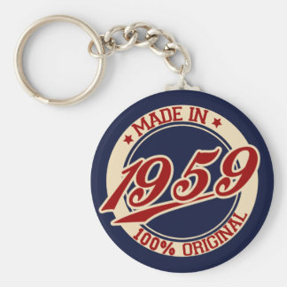 Made In 1959 Basic Round Button Key Ring