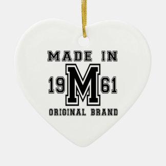 MADE IN 1961 ORIGINAL BRAND BIRTHDAY DESIGNS CERAMIC ORNAMENT