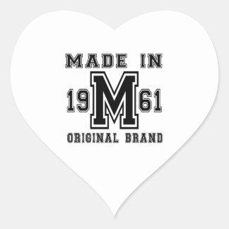 MADE IN 1961 ORIGINAL BRAND BIRTHDAY DESIGNS HEART STICKER