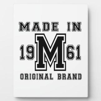 MADE IN 1961 ORIGINAL BRAND BIRTHDAY DESIGNS PLAQUE