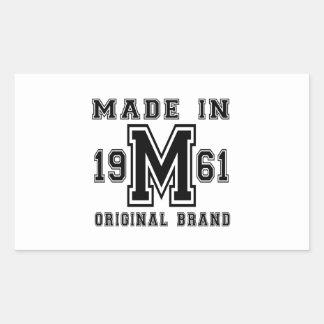 MADE IN 1961 ORIGINAL BRAND BIRTHDAY DESIGNS RECTANGULAR STICKER