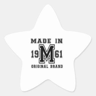 MADE IN 1961 ORIGINAL BRAND BIRTHDAY DESIGNS STAR STICKER
