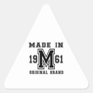 MADE IN 1961 ORIGINAL BRAND BIRTHDAY DESIGNS TRIANGLE STICKER