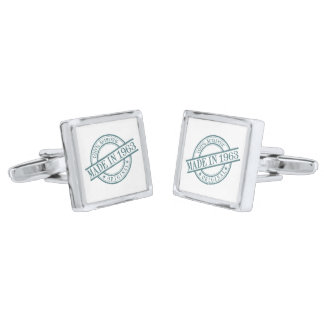 Made in 1963 Circular Rubber Stamp Style Logo Silver Finish Cufflinks