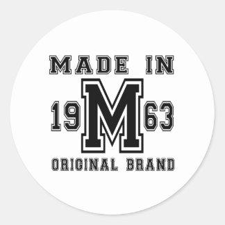 MADE IN 1963 ORIGINAL BRAND BIRTHDAY DESIGNS CLASSIC ROUND STICKER