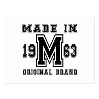 MADE IN 1963 ORIGINAL BRAND BIRTHDAY DESIGNS POSTCARD