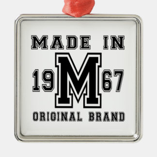 MADE IN 1967 ORIGINAL BRAND BIRTHDAY DESIGNS METAL ORNAMENT