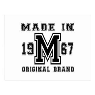 MADE IN 1967 ORIGINAL BRAND BIRTHDAY DESIGNS POSTCARD