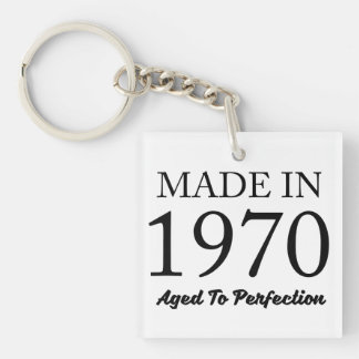 Made In 1970 Double-Sided Square Acrylic Key Ring