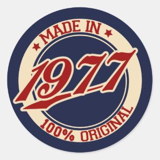 Made In 1977 Round Sticker