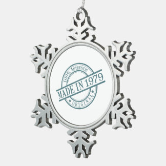 Made in 1979 snowflake pewter christmas ornament