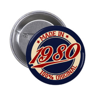 Made In 1980 6 Cm Round Badge