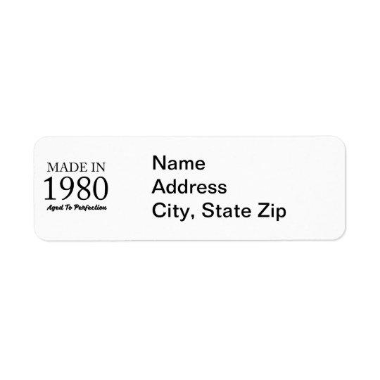 Made In 1980 Return Address Label