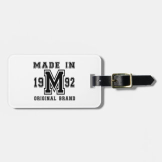 MADE IN 1992 ORIGINAL BRAND BIRTHDAY DESIGNS LUGGAGE TAG