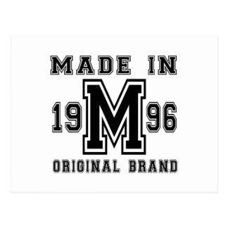 MADE IN 1996 ORIGINAL BRAND BIRTHDAY DESIGNS POSTCARD