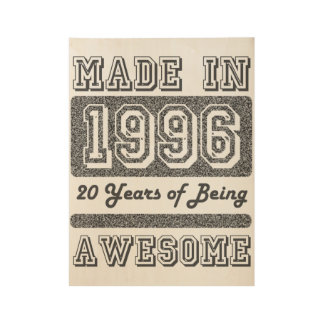 Made in 1996 wood poster