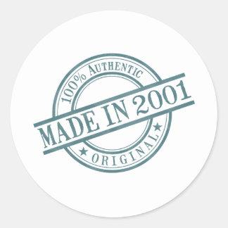 Made in 2001 Round Stamp Style Logo Classic Round Sticker