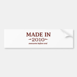 Made In 2010 Birthday Designs Bumper Sticker
