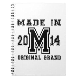 MADE IN 2014 ORIGINAL BRAND BIRTHDAY DESIGNS NOTEBOOK