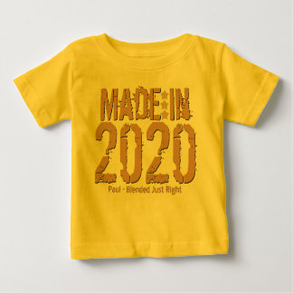 Made in 2020 or Any Year Grunge Text GOLD and TAN Baby T-Shirt