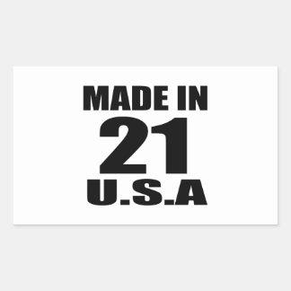 MADE IN 21 U.S.A BIRTHDAY DESIGNS RECTANGULAR STICKER