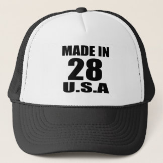 MADE IN 28 U.S.A BIRTHDAY DESIGNS TRUCKER HAT
