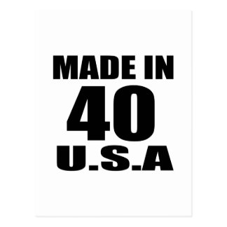 MADE IN 40 U.S.A BIRTHDAY DESIGNS POSTCARD
