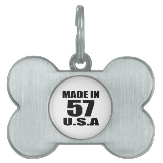 MADE IN 57 U.S.A BIRTHDAY DESIGNS PET TAG