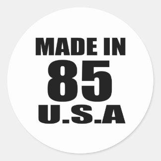 MADE IN 85 U.S.A BIRTHDAY DESIGNS CLASSIC ROUND STICKER