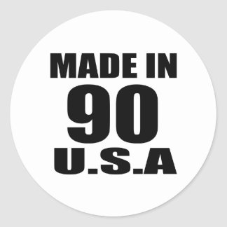 MADE IN 90 U.S.A BIRTHDAY DESIGNS CLASSIC ROUND STICKER