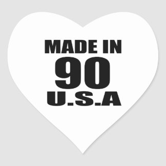 MADE IN 90 U.S.A BIRTHDAY DESIGNS HEART STICKER