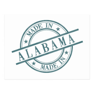 Made In Alabama Stamp Style Logo Green Postcard