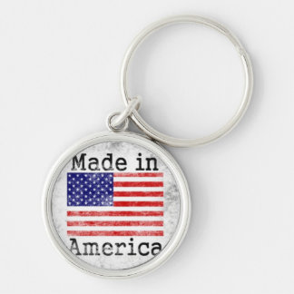 Made in America Colorful Stamp Silver-Colored Round Key Ring