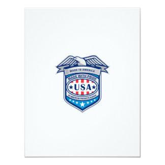 Made In America Eagle Patriotic Shield Retro 11 Cm X 14 Cm Invitation Card