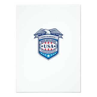 Made In America Eagle Patriotic Shield Retro 14 Cm X 19 Cm Invitation Card